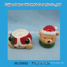 2016 Christmas Bear Pattern Ceramic Salt&Pepper Shakers