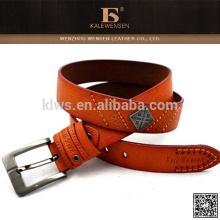 Eco-friendly portátiles Fábrica de suministro genuino mens marca cinturones de cuero