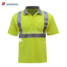 Camiseta de trabajo de advertencia de la camiseta de la seguridad de la alta visibilidad para el trabajador de construcción con la cinta y el bolsillo reflexivos de alta calidad de 3M