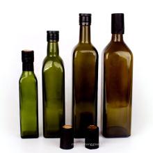 Food Grade 250ml 500ml 750ml 1L Empty Square Green Marasca 1 liter Glass Bottle For Olive Oil