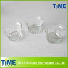 Candeleros de vidrio transparente de forma redonda