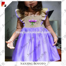 High quality handmade embroidered purple dress