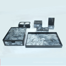 Luxury Marble Logo Customization Hotel Bathroom Supplies Set Acrylic Removable Drawer Storage Box Acrylic Tray