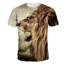 Lion print beach round neck cotton tshirt