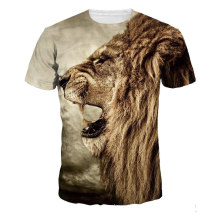 Löwe-Druckstrand-Rundhals-T-Shirt