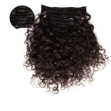 """Black Color Kinky Curly 16"""" Remy Human Hair Clip in Hair Extension for Daily Use"""