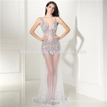 Las mujeres visten 2016 venden al por mayor el vestido de noche hermoso de los hilados del hilado neto del cordón de oro
