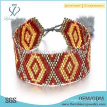 Moda diy frisado wrap pulseira, multi-coloridas pulseiras boêmio