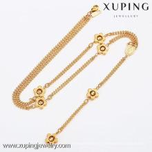 42420-Xuping Moda jóias cheias de ouro, Encantos Jóias Beads Com Colar De Flores