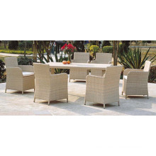 White Rattan Furniture Dining Set Garden Chairs and Table