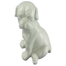 Artisanat en céramique en forme d'animal, chien accroupi avec glaçage blanc
