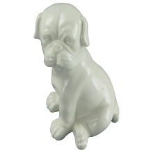 Animal Shaped Ceramic Craft, Crouching Dog with White Glaze