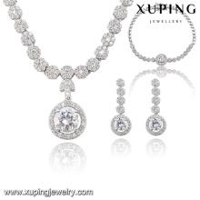 S-55 mode luxe CZ diamant alliage de cuivre d'imitation de rhodium ensemble pour la noce