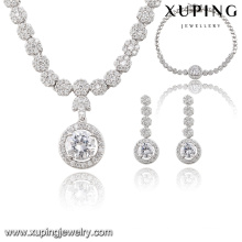 S-55 Fashion Luxury CZ Diamond Rhodium Alloy Copper Imitation Jewelry Set for Wedding Party