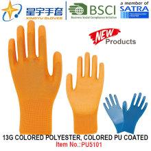13G coloridos poliéster Shell colorido PU revestido luvas (PU5101) com CE, En388, En420, luvas de trabalho
