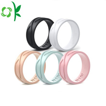 Custom Debossed Logo Silikon Wedding Ring High-end Bands