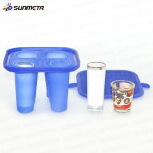 Nova braçadeira de vidro de tiro de borracha 1.5oz 3oz para mini máquina de sublimação 3D