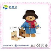Великобритания Горячие продажи картона чемодан Плюшевые Paddington Медведь Фаршированные игрушки