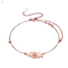 Bracelete de aço inoxidável feito sob encomenda do elefante do ouro de Rosa do grânulo da dupla camada