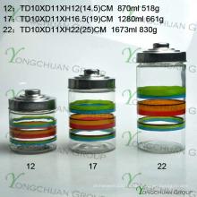 Venda Por Atacado Machine-Molded Glass Storage Garrafa Set Hand Painting Strip