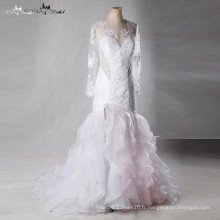 LZ163 Vestido De Noiva Robe de Mariée Mermaid Two Color Robe de Mariée Dentelle