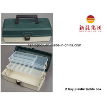 Green Color 2 Tray Plastic Tackle Box