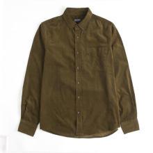 Camisa clássica de veludo cotelê de manga comprida calorosamente espessa