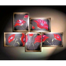 Group Handmade Modern Flower Oil Painting on Canvas