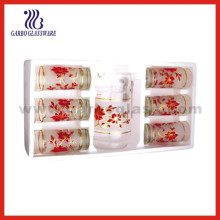 Conjunto de vaso de cristal decorado, juego de cristalería (EX-T8-704)