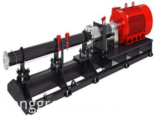 Vertical single screw rotor pump.