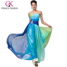 Grace Karin diseño elegante Ombre Strapless Sweetheart gasa largo más vestido del baile de fin de curso CL6069-1 #