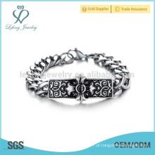 Pulseiras de prata baratos da forma, braceletes transversais do sinal, braceletes de prata dos homens