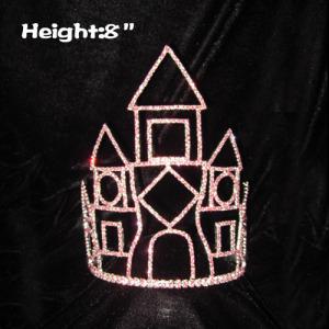 8in coronas de castillo con diamantes de imitación rosa