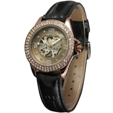 winner elegant women watch with diamond skeleton dial