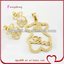 Fashion cute bear stainless steel pendant and earring stud cheap jewelry set supplier