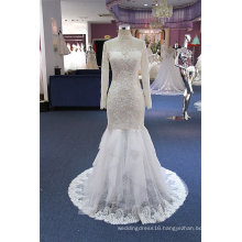 High Neck Long Sleeve Lace Evening Prom Party Wedding Dress