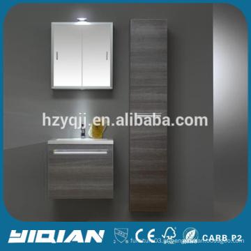 Euro Style Wood Veneer MDF Gabinete de banheiro Modern Wash Basin Mirror Cabinet