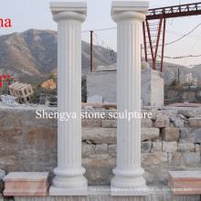 Colonne de sculpture en pierre de marbre blanc Carrare (SY-C006)