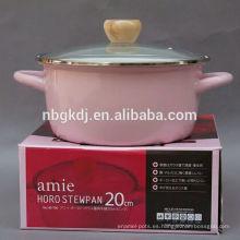 Rosa estrecho olla utensilios de cocina de esmalte en2015 ventas calientes rosa olla estrecho olla de esmalte utensilios de cocina en2015 ventas calientes