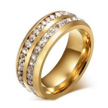 8mm titanium 18K chapado en oro de acero inoxidable de alto pulido canal Set CZ anillo de compromiso