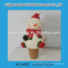 Útil tapón de vino de cerámica en el diseño de muñeco de nieve