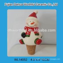 Useful ceramic wine stopper in snowman design