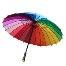 Manual abra o guarda-chuva reto colorido do arco-íris (BD-17)