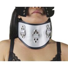 Silber Hochwertiger Sex Neck Ring Halskragen Sm Halskette Adult Sm Spielzeug Damen Halsband in Leder