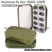 Gros Fly Box de pêche en aluminium Fly Box 10 compartiments