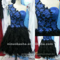 Flirt One Shoulder Embriodery Applique Column Feather Skirt Beaded Mini Zipper Closure Graduation Dress Homecoming Gown