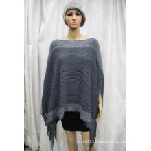 Female Fashion Silver Striped Acrylic Knitted Winter Fringe Poncho (YKY4499)