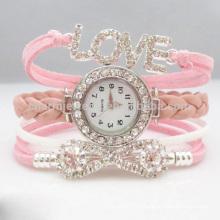 Haute qualité Nouvelle mode Wrap autour Bracelet Montre Bowknot Cristal Femmes Bracelet en cuir Montres bracelet CBW002