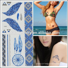 OEM Wholesale Temporary Tattoos Colorful Wings Tattoo Fashion Design for Girls V4627
