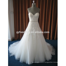 China Elegant Sheer Shoulder Vestidos De Noiva Lace Appliqued Beaded Waist Sweetheart Wedding Dress 2016 15026-3